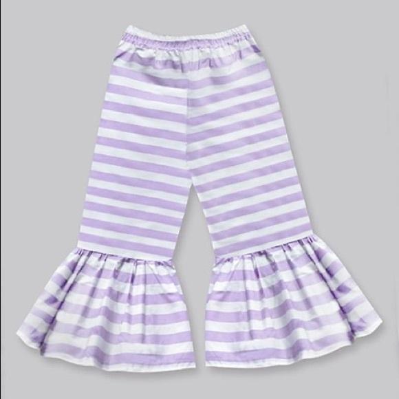 Girls Light Purple Stripe Boho Ruffle Pants